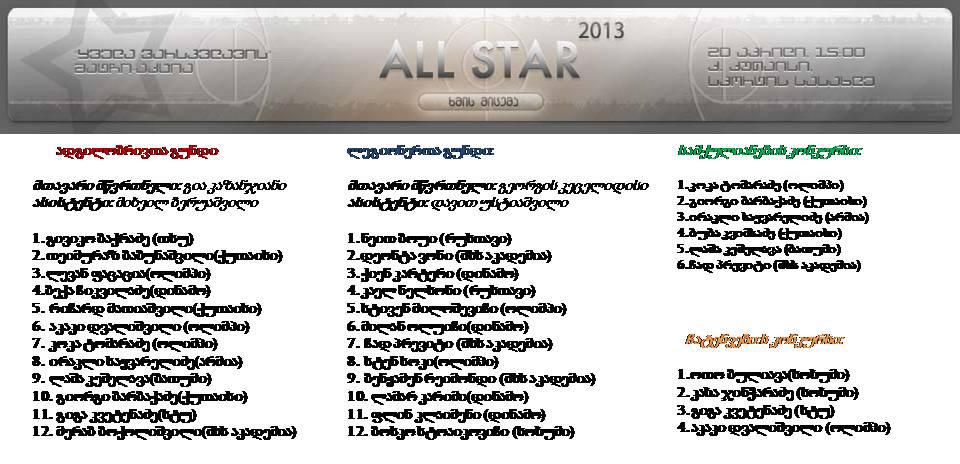 """2013 წლის ,,ყველა ვარსკვლავის მატჩი-აქცია"""""""
